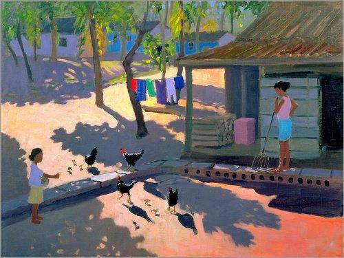 Posterlounge Holzbild 120 x 90 cm: Straße nach Kovalum Beach, Kerala von Andrew Macara/Bridgeman...