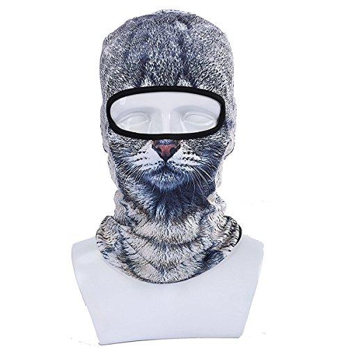 GSD Face Maske Winter Motorrad Sturmhaube Kapuze Outdoor Sport cosply Kostüm Nackenwärmer mit 3D Tier gedruckt Ski Maske, (Face Kostüm Cat)