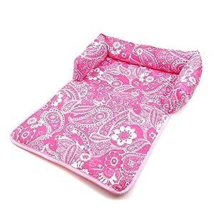 Hioowiu Sitzbezug Matte mit Kopfstütze für Hundebetten Sofas Couch Decke Blumendruck Multifunktions Hundematten rosa weißes Blumen_XL 145x85cm_02