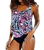 Damen Tankini Bikini Set Badeanzug Push Up Top Strand Gepolstert Badeanzug Zwei Stück Beachwear 2 3XL