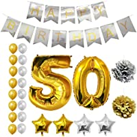 Happy Birthday Party Balloons, Supplies & Decorations by Belle Vous - All-in-One Set - Large Foil Balloon - Latex Balloon Decoration - Decor Suitable for All Adults