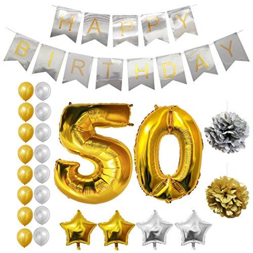 Globos Cumpleaños Happy Birthday #50, Suministros y Decoración por Belle Vous - Set 24 Piezas - Globo Grande Aluminio de 30,5cm 50 Años - Globos De Látex Dorado y Plateado - Decoración para Adultos