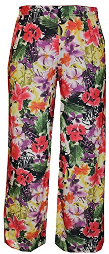 Ladies Floral Print Wide Leg Palazzo Pants. Stretchy Waist. Sizes 8 to 26