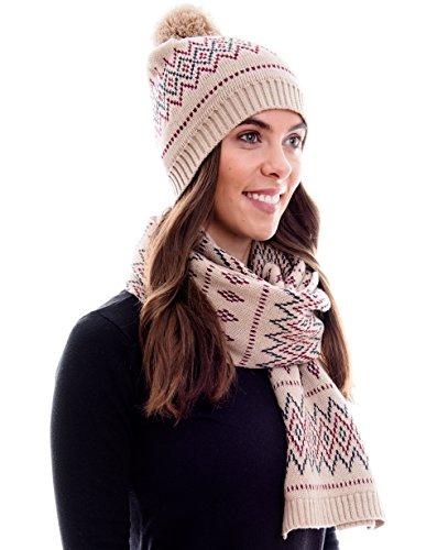 Winter Kombi Set aus Winter Schal und passender Strickmütze/Beanie mit Pompon/versch. Designs, Winter Set:Braun creme