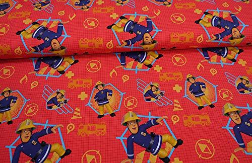 feuerwehrmann sam meterware Qualitativ hochwertiger Jersey Stoff mit Feuerwehrmann Sam auf Rot - Digitaldruck) als Meterware zum Nähen von Baby- und Kinderkleidung, 50 cm