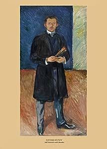 """EDVARD MUNCH """" Autoportrait aux pinceaux """" Environ 1904 Sur Format A3 Papiers Brillants de 250g. Affiches de Reproduction"""