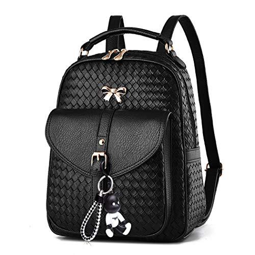 Deerword donna borse a zainetto borse a mano borse a tracolla zaino della scuola borsa del portatile pelle nero v2