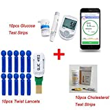 Finlon 2in1 Bluetooth 4.0 Glucose / Cholesterol with APP for IOS Android 10 Glucose Test Strips+10 twist lancets+10pcs Cholesterol Test Strips Blood Glucose Meter Monitoring