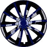 PREMIUM Radkappen Radzierblenden Radblenden 'Modell: Gral' 4er Set, Farbe: Blau Schwarz, Felgendurchmesser:15 Zoll