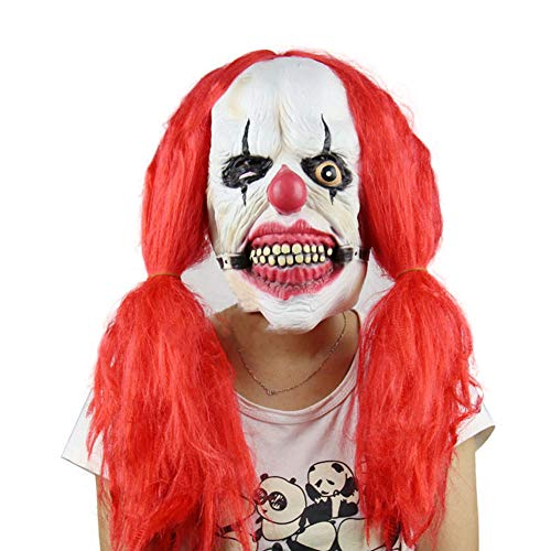 Starall Scary Killer Clown Maske mit roten Haaren Ghost Movie Masken Halloween Requisiten Fancy Kostüme - Haar Clown Kostüm