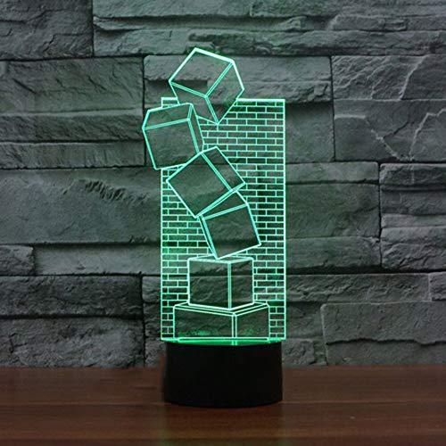 Qaq Starry Skyneuheit Blöcke Modellierung Led Nachtlicht 3D Bunte Visuelle Ziegel Wand Form Schreibtischlampe Geschenke Schlafzimmer Nachttischlampe Leuchte Decor
