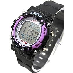 QBD Girl 's Damen Super Wert Wasserdicht Multi-Funktion LED Digital Stoppuhr Alarm Hintergrundbeleuchtung Sport Armbanduhr (v-purple)