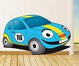 Wandtattoo Cooles Rennauto farbig blau/gelb VERSANDKOSTENFREI! #112B 130cm x 75cm