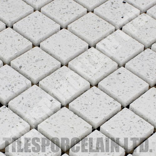 Diamond White Quartz Mosaic Tiles (qzm-d-white)