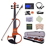 ammoon Violon Ménage Taille totale 4/4 Bois massif Électrique Silencieux Violon Fiddle Style-3 Ebony Fingerboard Pegs Chin Rest Tailpiece avec Bow Hard Case Tuner Casque Rosin Extra Strings & Bridge (bleu)