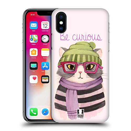 Head Case Designs Calmo Acquarelli Di Animali Hipster Cover Retro Rigida per Apple iPhone X Curioso