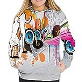 MLNHY Women's Hoodies Tops,Music People with Turntable And Speakers Dancing Funky Urban Nights Guitar Print,Hoodie Sweatshirt Apparel for Women,Lady, Teens And Girls,Size:XXL