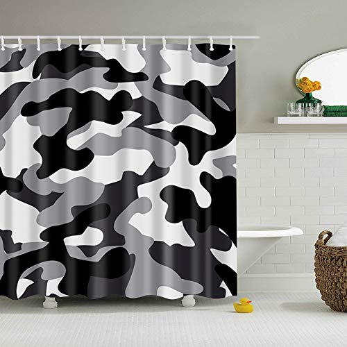 fdswdfg221 White Background Black White Gray Lines Abstract Ink Bathroom Accessories 3D digital Printing Moisture Proof Mildew Bathroom Curtain 180X180CM+12 Hook - Line-spannung-track