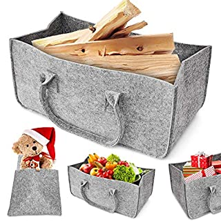 Felt Wood Bag, Aodoor Felt Basket Fireplace Wood Basket, Basket Felt Magazine Newspaper Rack Newspaper Basket 50 x 25 x 25 cm (Grey)