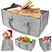 Felt Wood Bag, Aodoor Felt Basket Fireplace Wood Basket, Basket Felt Magazine Newspaper Rack Newspaper Basket 50 x 25 x 25 cm (Grey)