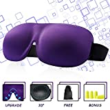 Masque de sommeil pour les femmes, cache-oeil pour dormir, contour 3D 100% Blackout breveté Nouveau masque pour les yeux avec bouchons d'oreilles et pochette de transport