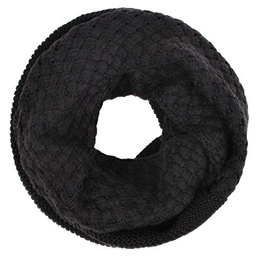 Distressed Rundschal Schlauchschal Loop Schal Damen und Herren viele Farben schwarz