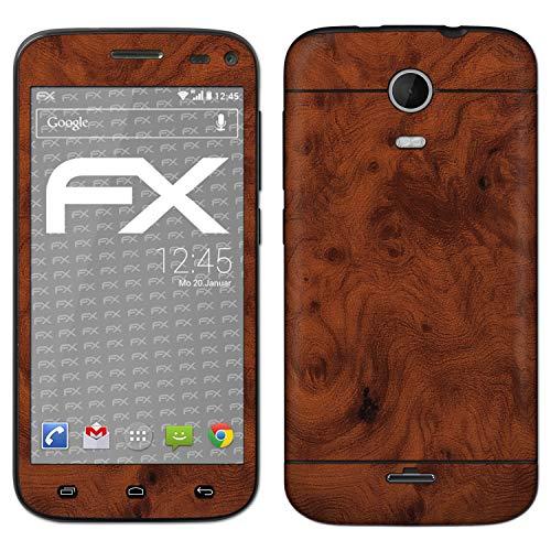 atFolix Skin kompatibel mit Wiko Darkmoon, Designfolie Sticker (FX-Wood-Root), Holz-Struktur/Holz-Folie