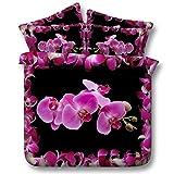 JF-200 Bateau fond noir avec impression rose orchidée mauve couette king 3d