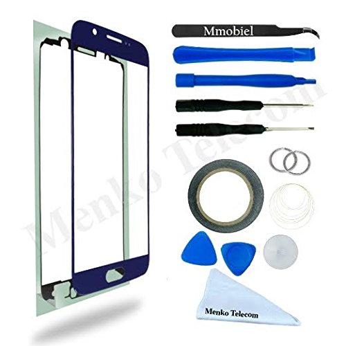Front Glas für Samsung Galaxy S6 G920 Series Blue Display Touchscreen mit 12 tlg. Werkzeug-Set / passgenauem PreCut Sticker / Pinzette / Rolle 2mm Klebeband / Saugnapf / Metall Draht / Mikrofasertuch / Anleitung MMOBIEL