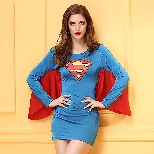 SHANGN Super Heroes Dress Cosplay Kostüm Frauen Film Cosplay Halloween Blue Trikot,Lady-M (Super Hero Kostüm Frauen)