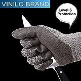 VINILO - Guantes resistentes al corte, protección nivel 5, de calidad alimentaria, certificado EN388, garantía de seguridad para protección de las manos, de cocina para cortar y rebanar con seguridad, a prueba de puñaladas, resistente al alto rendimiento,
