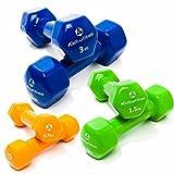 """6er-Set Hanteln """"Hexagon"""" /Kraftsport, Fitnesstraining, Aerobic, Gymnastik & Heimtraining/-Ggeeignet für Damen (Frauen) & Herren (Männer) / """"Hexagon"""" 0,75kg -orange /1,5kg-grün & 3kg-navyblau"""