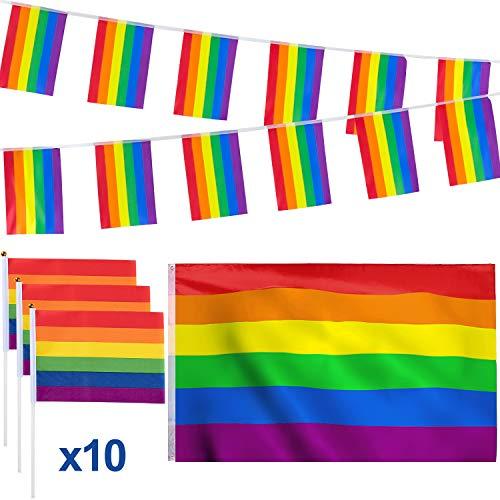lagge 90 x 150 cm, Homosexuell Gay Pride Flagge Banner 5,7 m, LGBT Flagge Kleine Regenbogenfahne 21 x 14 cm, Stolz Parade Flagge für die Schwulenparade ()