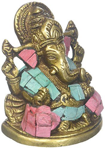 Elefanten-statue Türkis (craftvatika Messing Taj Ganesha Statue Hindu Elefanten Gott Ganesh türkis Skulptur Diwali Puja Idol Figur Geschenk)