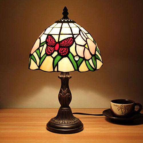 HDO 8 Zoll rote Schmetterlings-pastorale antike Luxux tiffany-Art-handgemachte Glastisch-Lampen-Nachttisch-Raum-Kinder Licht