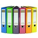 6x Aktenordner / DIN A4 / 75mm breit / 6 verschiedene Farben