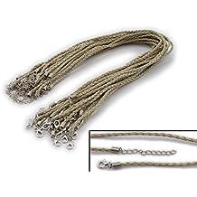 10 x Halsband aus geflochtenem Kunstleder ** Farbe Taupe ** mit Karabinerverschlu/ß