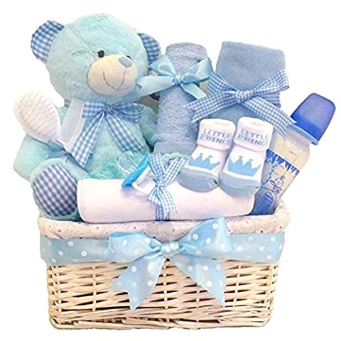 Cuddles Time LARGE DELUXE Baby Boy Gift Basket / Gift