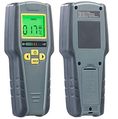 AGT Feuchtigkeitsmesser: Digitaler 4in1-Feuchtigkeits-Detektor mit Nicht-invasiver Messung, LCD (Feuchtigkeitsmessgerät)