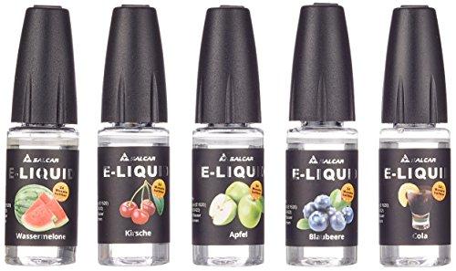 Salcar 5x10ml E-Liquid für E-Zigarette, 0,0mg Nikotin, VG70%/PG30%, Apfel, Kirsche, Blaubeere, Wassermelone, Cola (Glycerin Ecig Pflanzliches Für)