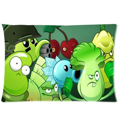 Plants vs Zombies Pillowcase Custom Plants Vs Zombies Pillowcase 20x36 Rectangle Throw Pillow Cover Soft Cotton Zippered Cushion Case Two Sides Pattern Printed Soft-side Case
