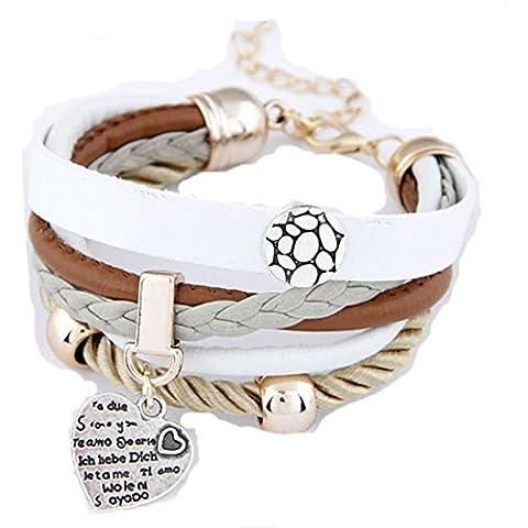 Andonger Nuovo round stampata cuore pendenti Pu Livelli braccialetti di cuoio poco costoso dei monili unici, 101.141