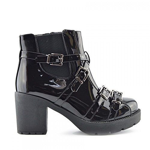 Kick Footwear - Donna Caviglia Retrò Combat Boot Womens Funky Vintage Goth Stivali Vernice Nera