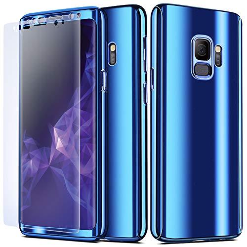 NALIA 360 Grad Handyhülle kompatibel mit Samsung Galaxy S9, Full-Cover & Schutzfolie vorne hinten Hülle Doppel-Schutz, Dünn Ganzkörper Case Etui Handy-Tasche, Bumper & Displayschutz, Farbe:Blau