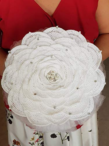 Bouquet Sposa Shabby Chic Monofiore Handmade, Portafedi, Promessa di Matrimonio, composto da una grande rosa lavorata a crochet, nastri di raso, organza, impreziosita da applicazioni gioiello.