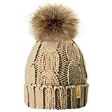HAT TRICKS by PARIELLA TM Ladies chunky soft cable knit hat with cosy fleece liner and detachable faux fur pompom-1