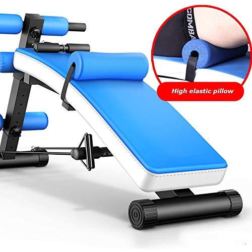 JIAYUAN Übungsgeräte Einstellbare Bank Sit-up-Bank Slant Board Ab Bank Crunch Board Reverse Crunch-Griff für Bauchmuskelübungen mit 7 einstellbaren Höheneinstellungen (Color : Blue) (Ab Crunch Und Sit Up Bank)