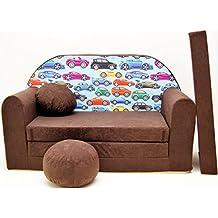 Welox Kindersofa Bettfunktion 3in1 - Kindersessel, Ausziehbett, braun kleine Autos