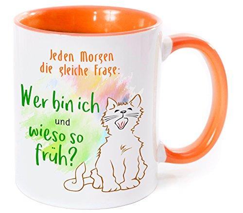 Cadouri - MORGENMUFFEL Tasse Kaffeetasse Kaffeebecher mit Spruch JEDEN MORGEN DIE GLEICHE FRAGE: WER BIN ICH UND WIESO SO FRÜH? - 300 ml