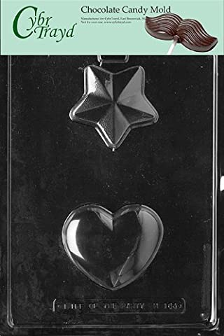 Cybrtrayd M164 Heart/Star Miscellaneous Chocolate Candy Mold by CybrTrayd